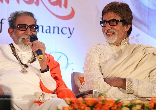 Balasaheb Thackeray (left) and Amitabh Bachchan (right)
